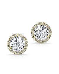 Anne Sisteron - Metallic 14kt Yellow Gold White Topaz Diamond Stud Earrings - Lyst