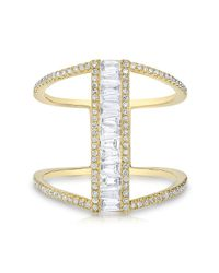 Anne Sisteron - 14kt Yellow Gold Baguette Diamond H Ring - Lyst