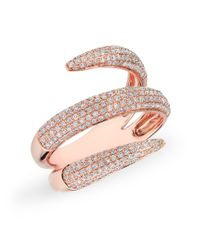 Anne Sisteron - Pink 14kt Rose Gold Diamond Claw Wrap Diamond Ring - Lyst