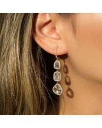 Anne Sisteron - Metallic 14kt Yellow Gold Triple Diamond Slice Earrings - Lyst