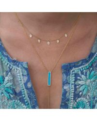 Anne Sisteron - Blue 14kt Rose Gold Diamond Turquoise Rectangle Bar Lariat Necklace - Lyst