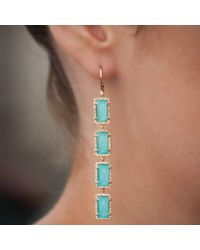 Anne Sisteron - White 14kt Yellow Gold Turquoise Diamond Rectangle Drops Earrings - Lyst