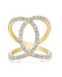 Anne Sisteron - Metallic 14kt Yellow Gold Diamond Luxe Cigar Band Ring - Lyst