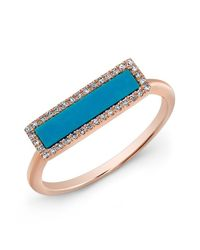 Anne Sisteron | Blue 14kt Rose Gold Turquoise Diamond Bar Ring | Lyst