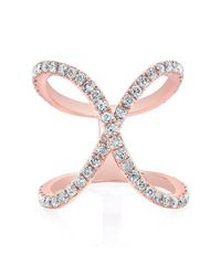 Anne Sisteron | Pink 14kt Rose Gold Diamond Curved X Ring | Lyst