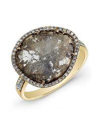 Anne Sisteron - Gray 14kt Yellow Gold Diamond Slice Ring - Lyst