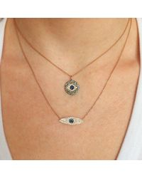 Anne Sisteron - Metallic 14kt White Gold Champagne Diamond And Sapphire Evil Eye Disc Necklace - Lyst