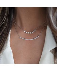 Anne Sisteron - Metallic 14kt White Gold Diamond Double Sleek Crescent Necklace - Lyst
