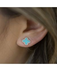 Anne Sisteron - Blue 14kt Yellow Gold Diamond Turquoise Fleur Stud Earrings - Lyst