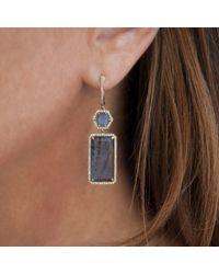 Anne Sisteron - Metallic 14kt Yellow Gold Labradorite Diamond Geometric Earrings - Lyst