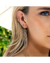 Anne Sisteron Multicolor 14kt White Gold Diamond Labradorite Pear Stud Earrings