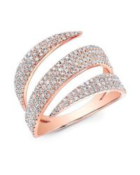 Anne Sisteron - Pink 14kt Rose Gold Diamond Bandeau Ring - Lyst