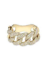 Anne Sisteron | Metallic 14kt Yellow Gold Luxe Light Diamond Chain Link Ring | Lyst