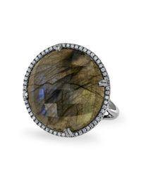 Anne Sisteron | Metallic 14kt Oxidized White Gold Labradorite Diamond Round Cocktail Ring | Lyst