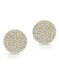 Anne Sisteron | Metallic 14kt Yellow Gold Large Diamond Disc Stud Earrings | Lyst