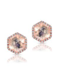 Anne Sisteron | Pink 14kt Rose Gold Moonstone Diamond Hexagon Stud Earrings | Lyst