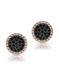 Anne Sisteron   14kt Rose Gold Diamond And Black Diamond Disc Stud Earrings   Lyst
