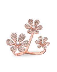 Anne Sisteron | Multicolor 14kt Rose Gold Diamond Floating Triple Daisy Flower Ring | Lyst