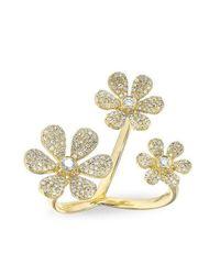 Anne Sisteron - Metallic 14kt Yellow Gold Diamond Floating Triple Daisy Flower Ring - Lyst