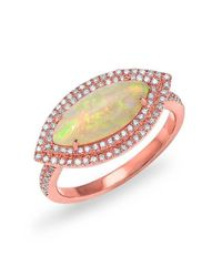 Anne Sisteron | Multicolor 14kt Rose Gold Marquis Opal Double Halo Diamond Ring | Lyst