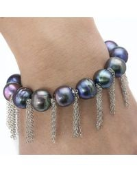 Anne Sisteron | Blue Peacock Pearl Bracelet With Sterling Silver Fringe Chain | Lyst