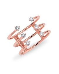 Anne Sisteron | Pink 14kt Rose Gold Diamond Open Cage Ring | Lyst