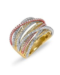 Anne Sisteron | Metallic 14kt Yellow And Rose And White Gold Diamond Wire Ring | Lyst