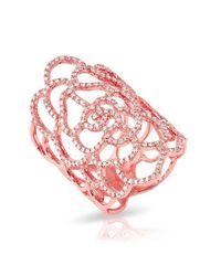 Anne Sisteron | Pink 14kt Rose Gold Diamond Camellia Flower Ring | Lyst