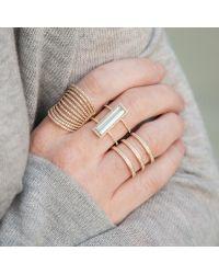 Anne Sisteron | Metallic 14kt Yellow Gold Aquamarine Diamond Beam Ring | Lyst