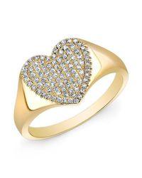 Anne Sisteron | Metallic 14kt Yellow Gold Diamond Rachel Heart Ring | Lyst