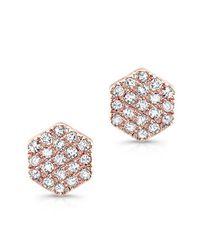 Anne Sisteron | Metallic 14kt Rose Gold Hexagon Diamond Stud Earrings | Lyst