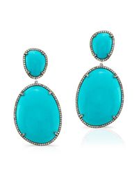 Anne Sisteron | Blue 14kt Oxidized White Gold Turquoise And Diamond Earrings | Lyst
