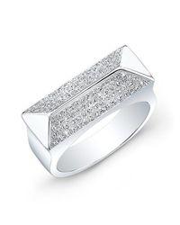 Anne Sisteron | Metallic 14kt White Gold Diamond Pyramid Bar Ring | Lyst