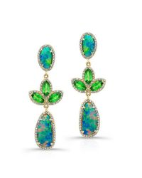 Anne Sisteron | 18kt Yellow Gold Opal Tsavorite Diamond Tropical Earrings | Lyst