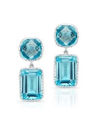 Anne Sisteron - 14kt White Gold Blue Topaz Earrings - Lyst