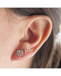 Anne Sisteron | Metallic 14kt Yellow Gold Diamond Camellia Flower Stud Earrings | Lyst