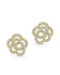 Anne Sisteron | Metallic 14kt Yellow Gold Diamond Camellia Flower Stud Earrings | Lyst