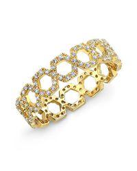 Anne Sisteron | Metallic 14kt Yellow Gold Diamond Mini Lattice Ring | Lyst