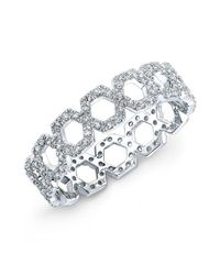 Anne Sisteron | Metallic 14kt White Gold Diamond Mini Lattice Ring | Lyst