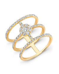 Anne Sisteron | Metallic 18kt Yellow Gold Diamond Fleur Ring | Lyst