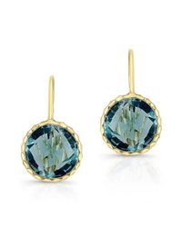 Anne Sisteron | 14kt Yellow Gold Small Blue Topaz Earrings | Lyst