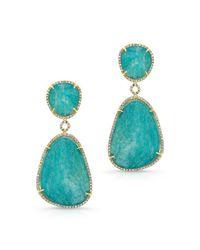 Anne Sisteron | Blue 14kt Yellow Gold Amazonite Diamond Earrings | Lyst