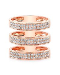 Anne Sisteron | Multicolor 14kt Rose Gold Diamond Large Triple Bar Ring | Lyst