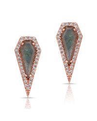 Anne Sisteron   Multicolor 14kt Rose Gold Labradorite Diamond Shield Earrings   Lyst
