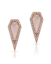 Anne Sisteron | Pink 14kt Rose Gold Moonstone Diamond Shield Earrings | Lyst