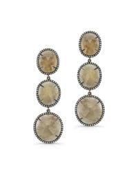 Anne Sisteron | Metallic 14kt Oxidized Yellow Gold Sapphire Diamond Triple Drop Earrings | Lyst