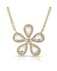 Anne Sisteron   Metallic 14kt Yellow Gold Rose Cut Diamond Flower Necklace   Lyst