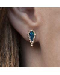Anne Sisteron - Multicolor 14kt Yellow Gold Opal Diamond Shield Earrings - Lyst