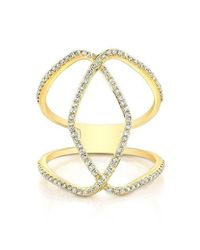 Anne Sisteron - Metallic 14kt Yellow Gold Diamond Edgy Cigar Band Ring - Lyst