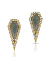 Anne Sisteron - Metallic 14kt Yellow Gold Labradorite Diamond Shield Earrings - Lyst